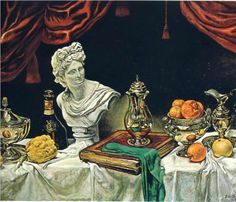 Still Life with Silver Ware by Giorgio de Chirico (1962) #life #painting #still #art