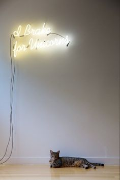 Freunde von Freunden — Rob Fissmer and Elise Loehnen — Editor and Planner, Apartment, Venice, Los Angeles — http://www.freundevonfreun #lamp #unicorn #typhography #cat #light #neon