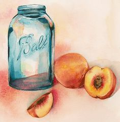 Canning Peaches Archival Print by amberalexander on Etsy #jar #watercolor #peaches