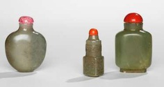 Group of three Snuffbottles from celadon coloured Jade