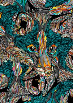 http://off-the-wall-b.tumblr.com/tagged/animalistic #illustration #wolf