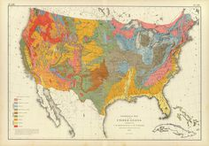 Geological map of the United States of America - 1874 #old #geology #classic #map #vintage #topography