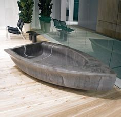 Art bathtub like stone boat sculpture
