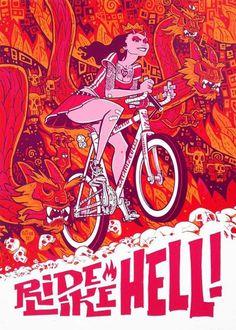 Tumblr #flames #hell #dragons #skulls #bike