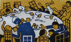 Flight+-+Nursery+Tea.jpg 1,000×595 pixels #print #arts #illustration #linocut #fine