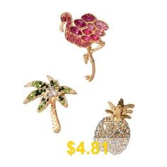 Fashion #Color #Full #Diamond #Flamingo #Pineapple #Coconut #Tree #Brooch #Set #- #GOLD
