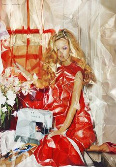 photorealistic fashion spread paintings