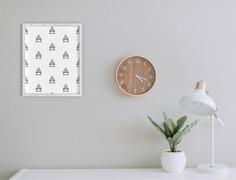 Scandinavian Small Christmas Tree Pattern Wall Art Poster Design
