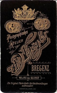 Typography / Bregenz Photo Back, 1800s, type, typography #type #vintage