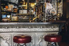 Step Inside Truth, a Steampunk Coffee Shop in Cape Town, South Africa #interior #shop #design #steampunk #architecture #vintage #bar #stools #coffee