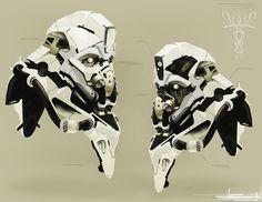 concept robots: Concept robot art by Andrew Ley #robot #helmet