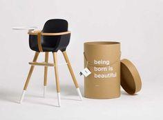 Dezeen » Blog Archive » Ovo high chair by CuldeSac #white #cardboard #packaging #black #wood #furniture #brown #plastic