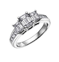 Three Stone (1.50ct) Diamond Ring 18K White Gold