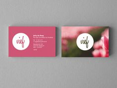 Vief Business Card #type #business card #green #natural #pink #nature