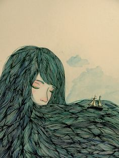 Valentina Contreras #ocean #fantasy #woman #hair #illustration #ship #boat