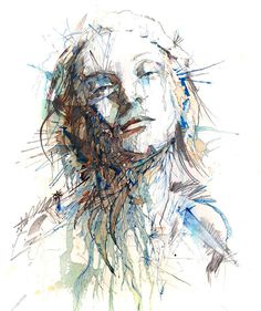 Portraits Drawn with Tea, Vodka, Whiskey and Ink by Carne Griffiths #portait #ink