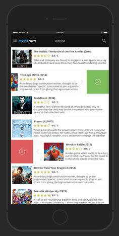 MovieNow – 7 Free Movie iPhone App Screens Design PSD