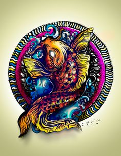 No limits... on Behance #water #draw #sadik #mexico #koi #orange #fish #guanajuato #tattoo #painting