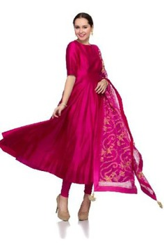 ethnic Jaipuri Royal Embroidered Suit Bright Pink suit
