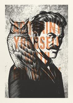 Men #illustration #etching #owl