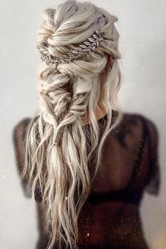 42 Boho Wedding Hairstyles ❤ Simple and elegant braided crown tutorial for bohemian brides. Click on image and find boho wedding hairstyles for any tastes. #wedding #bride #weddingforward #bridalhair #braidedcrowntutorial #bohoweddinghairstyles
