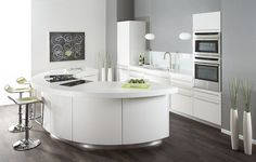Modern white kitchen with abstract painting
