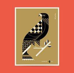 grain edit · Lab Partners: California Gold Posters #vector #geometric #bird #illustration #minimal #minimalist