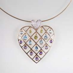 Heart pendant with color-rich gemstone trim at the Ripe