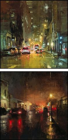Cityscapes: Paintings by Jeremy Mann #traffic #rain #painting #cityscape