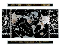Radio broadcast map, designed by Donald R. Dohner for the Westinghouse Manufacturing and Electric Company, 1933. Images via the Carnegie Mus #radio #1930s #aluminum