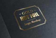 Metallic foil stamp with gold logo Free Psd. See more inspiration related to Logo, Mockup, Gold, Stamp, Psd, Metallic, Horizontal and Foil on Freepik.