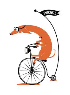 Cycling Sausage by Kayla King for minted.com | tinyinklings.com
