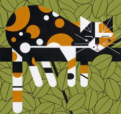 Sleepy Cat - Charley Harper #illustration #cat #harper #sleep #charley