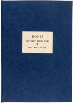 Odyssey Book XVII Complete text from the first printed edition Price Estimate: $3000 $5000 #classic #book #cover #homer #odyssey