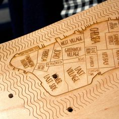 Manhattan skate deck #engraved #lettering #neighborhood #map #laser #wood #rad #skateboard #typography