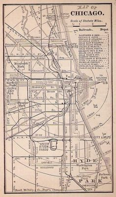 Street and Railroad Map, Chicago, IL Historic Map #chicago #map #1800s