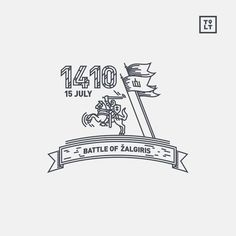 Battle of Zalgiris. www.tolithuania.com #vector #line #horse #flag #lithuania #infographic #icon #sword #illustration #linear #knight