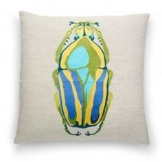 Pillows & Throws - Shop by Category - Home & Decor #home #embroidery #insect #pillow #beetle #blue #green