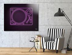 Neon Turntable Art Print #turntable #technics1200 #neonsign #3dart #cinema4d #3drender #rickardarvius #interiordesign #homedecor #homestylin