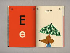 Ábécés könyv on Behance #umbrella #teaching #mouse #design #graphic #book #letter #illustration #education #cute #typography