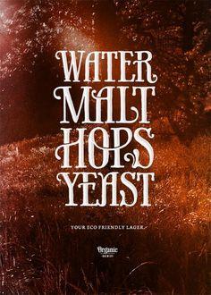 Water, malt, hops and yeast | Coffee made me do it #malt #water #coffeemademedoit #typography