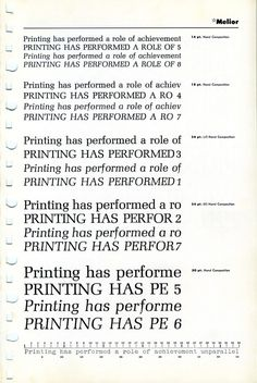 A specimen of the Melior font designed by Hermann Zapf