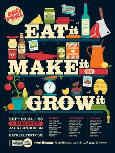 Eat Real Festival 2011 | The Black Harbor #vector #design #food #colorful #typography
