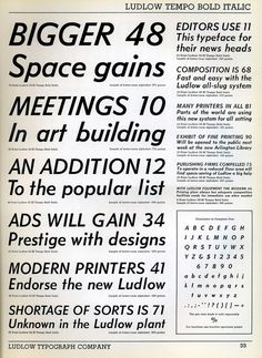 Ludlow Tempo Bold Italic type specimen