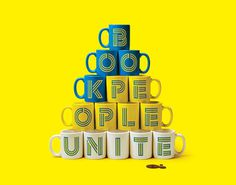 Book People Unite - Mother Design #font #mugs #letters #lines #yellow #display #is #fundamental #reading #typeface #type #mother #blue