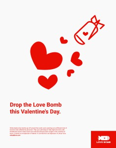 Poster, air bomb. For Love Bomb—a fundraiser (hosted by Reload Love) that helps kids affected by terrorism around the world | Brand identity, event design, logo and illustration by Brittany Byrne | Copywriting by Francesca Garcia | Color, kids, playground, love + Valentine's Day