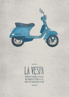 La Vespa #emily #illustration #isles #poster