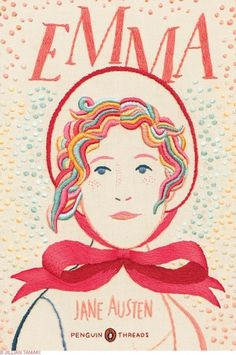 Jillian Tamaki Sketchblog » Blog Archive » Penguin Threads Deluxe Classics #jacket #book #cover #embroidery #emma #penguin