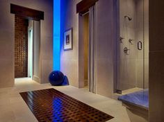 Blue lighting in bathroom corridor