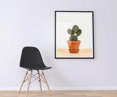 Minimal Cactus on Pot Poster Decor Design
